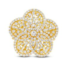 Cocktail Right Hand Womens Baguette Round 18K Yellow Gold Diamond Flower Ring
