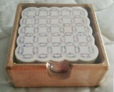 Vtg Yesterboard Home Collection 6 cork backed coaster set Wedding Ring Quilt