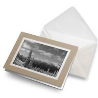 Greetings Card (Biege) BW - Snowy Forest Scene Snow Winter  #40777