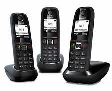 Gigaset AS405 Trio - Teléfono inalámbrico, pack 3 unidades, manos libres, Negro