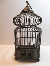 """Solid Brass Dome Top Bird Cage 17"""" Tall Feed Bowls & Perch Vintage"""