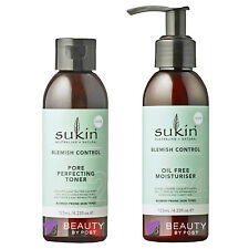 Sukin pore perfecting TONER and oil free MOISTURISER | blemish control set