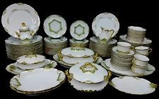 CHARLES FIELD HAVILAND Limoges France CHF100 GREEN & GOLD 107-piece SET SERVICE