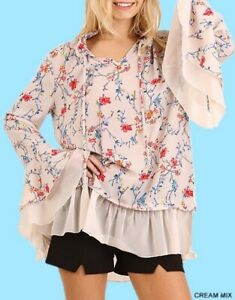 LIQUIDATING!!! UMGEE BOHO Blouse Cream Red Blue Mix Floral Bell Sleeve S M or L
