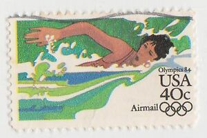 (UST-414) 1982 USA 40c swimming Olympics air mail (D)