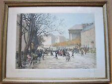 """Georges Fraipont 1908 """"Madelaine Boulevard"""" Framed & Signed Engraving"""