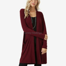 Women Fashion Cardigan Long Sweater Overcoat Open Front Long Sleeve With Pocket