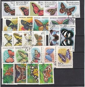 collection of 24 used butterfly/moth stamps