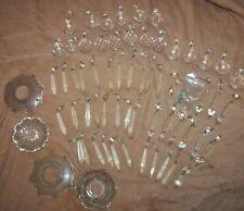New listing 62 pc Vintage Crystal Chandelier Lamp Parts Prisms, Pendants etc. antique glass