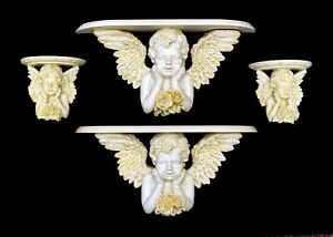 "Set of 4 Alco Gold Accents Cherub Angel 18"" & 6.5"" Decorative Wall Shelf Shelves"