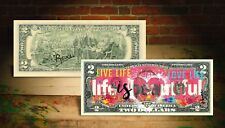 LIFE IS BEAUTIFUL Pink Heart Genuine $2 U.S. Bill - HAND-SIGNED by Rency ART