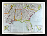 1907 Map United States Florida Georgia Alabama Carolina Louisiana Mississippi US
