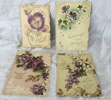 Set Of 4 Antique Victorian Diecut Valentine's Day Cards