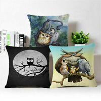 18'' Pillow Owl Case Fashion Cotton Decor Cover Sofa Cushion Linen Throw Home