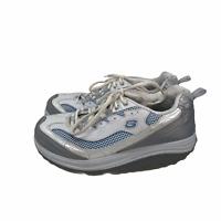 SKECHERS Shape Ups Walking Fitness Toning Shoes Size 8.5 White Silver Blue 11803