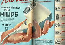 PUBLICITE ADVERTISING 085  1958  PHILIPS  rasoir éléctrique  ( 2 pages)