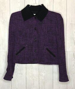 Women's AKRIS PUNTO Cropped Wool Tweed Jacket Size 6