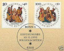 BRD 1993: Weihnachten Nr 1707+1708 mit sauberem Bonner Ersttagsstempel! 1A 1803