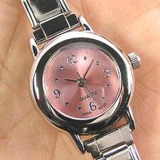 Round Pink 9mm Italian Charm Bracelet Watch BA05