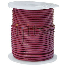 2mm round dark pink genuine leather cord 5-yard section (spool is not included)