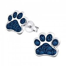 Sterling Silver 925 Dog / Cat Paw Crystal Stud Earrings - Dark Blue