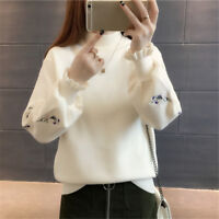 HOT Womens Korean Style Fashion High Collar Loose Embroide Knitting Sweater Coat