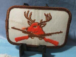 Vintage Buck Deer & Rifles Hunting Hunter Patch Orange Brown Trim