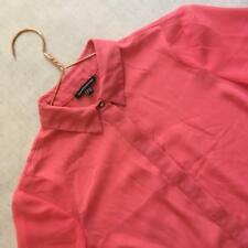 Warehouse Coral Pink Long Oversize Blouse Shirt Floaty Work Office Semi Sheer 10