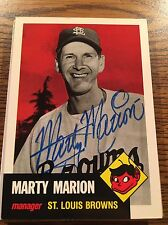 St Louis Browns Marty Marion Autograph Signed Auto Card