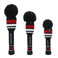 3pcs Golf Wood Head Cover Black Knit Tour Pom Pom Long neck Headcover Covers New