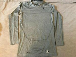 NIKE pro combat long sleeve compression tight top shirt base layer grey medium