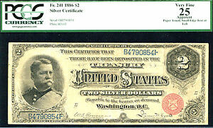 1886, $2 FR 241Silver Certificate PCGS 25-RARE-39 IN HIGHER GRADE