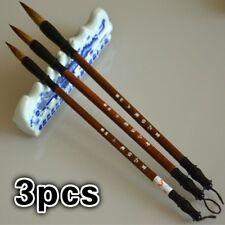 3Pcs Wool Chinese Calligraphy Brush Pen Art Painting Ink Storage Writing Tools