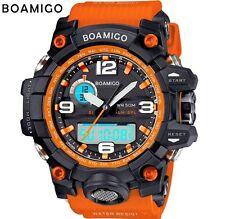 REGNO Unito Shock da Uomo DUAL DISPLAY DIGITALE LED Sports Divers Orologio in Nero/Arancione.