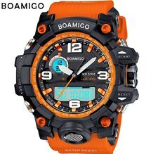 Reino Unido para Hombre Pantalla Dual Shock Digital Led Deportivo Divers Watch en Negro/naranja.