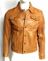 Mens Gents Tan Trucker Fitted Classic Casual Retro Nappa Leather Shirt Jacket