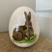 """Easter bunny rabbit Spring Egg painted ceramic Tabletop Decor 6.5"""" x 5"""""""