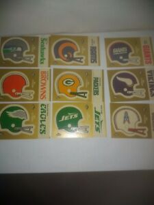 Lot of 22 Helmet or Mascot 1982 Fleer Football In Action Stickers Patches