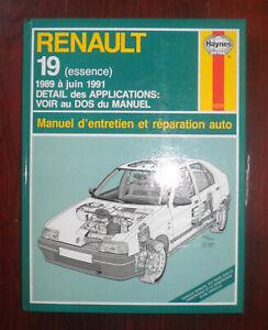 livre Renault 19 essence manuel d'entretien et réparation Haynes 1992 NEUF