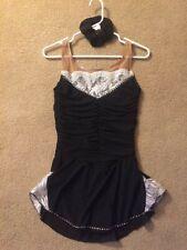 Sharene Black w/ white silver Lace Figure Skating Dress Size Adult Med