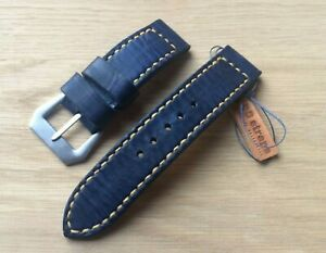 Handmade 26mm denim blue leather watch strap with GPF buckle fits Panerai