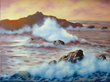 """Golden Dawn Seascape Oil Painting on Canvas 18""""×24"""" Unframed"""