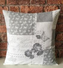 """🌸 16"""" Grey Patchwork Floral Butterfly Cushion Cover Shabby Chic,Vintage Style"""