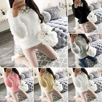 Womens Plush Long Sleeve Sweater Pullover Tops Ladies Autumn Sweatshirt Jumper