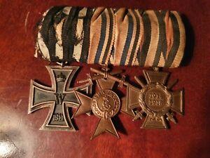 German WW1 medal group. Iron Cross,  Bavarian Merit, Honour Cross, pin mount.