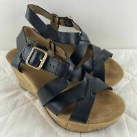 Clarks Womens Black Faux Leather Platform Cork Buckle Wedge Heel Size 4 A2