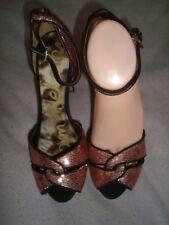 Sam Edelman UK 7 EU 40 US 9   PINK sequined Fabric / Black suede platform  shoes