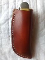 Custom Leather Belt Pocket Knife Case Sheath Handmade Handstitched Trapper
