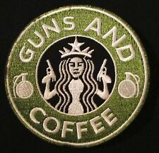 GUNS AND COFFEE STARBUCKS USA ARMY MORALE VELCRO® BRAND FASTENER BADGE PATCH