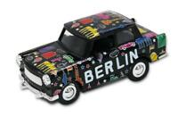 Trabi Trabant Limousine Berlin Scribble schwarz Modellauto DDR Metall 12 cm